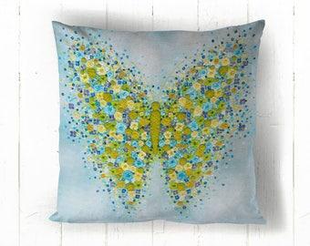Flutterly Blue Cotton Cushion