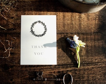Thank you cards pack//simple wreath Note cards//Pack of 5 thank you postcards with envelopes//wreath design//thank you note cards// white