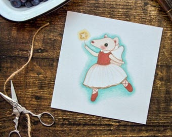 Pretty mouse birthday card//Fairy mouse card//children's birthday//frameable print//art print// little girl//illustration//cute card