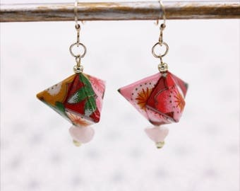 Red Japanese origami Silver earrings and rose quartz