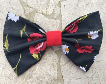 Poppy and daisy flower themed hairbow/bow tie