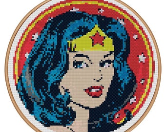 Wonder Woman DC Comic (Cross stitch embroidery pattern pdf)