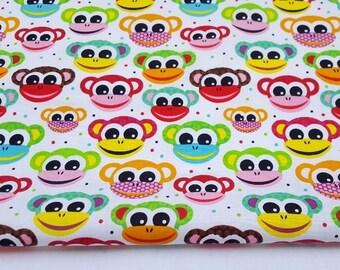 Monkey fabric etsy for Baby monkey fabric prints