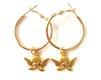 30mm Gold Angel Hoops