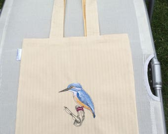 Tote bag with kingfisher design, embroidered reversible tote bag, beach bag, eco friendly bag, zero waste shopping bag, reusable cotton bag.