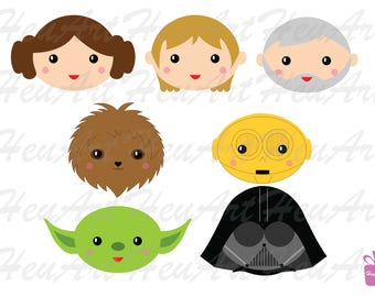 NEW Star Wars Faces Clipart, Star Wars Faces Digital Clipart, Star Wars Faces Artwork, Star Wars Faces Printables, Star Wars Faces Stickers