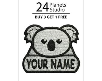 "Koala ""Your Name"" Iron on Patch by 24PlanetsStudio Your Text Custom Made DIY"