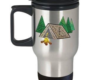 CAMPING TRAVEL MUG! Tent Camping Fishing Hunting Campfire Relaxation Outdoorsman Gift Insulated Stainless Steel Travel Coffee Mug With Lid