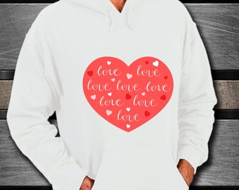 Hoodie I LOVE YOU Hearts & Love Sweatshirt Anniversary Wedding Birthday Adorable Honeymoon Bridal Shower Present Bachelorette Party Gift