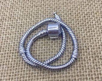 Custom Add-On item european bracelet in silver tone brass snake chain bracelet