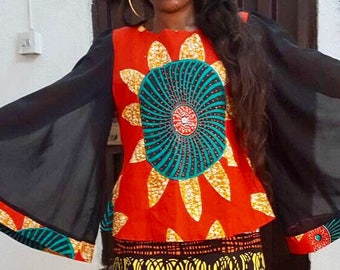 Centre circle Ankara top with chiffon bell sleeves