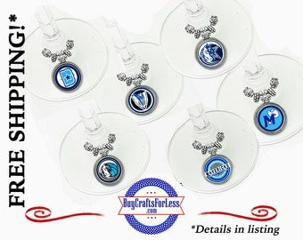 MAVERICKS Wine or Bottle Charms, Napkin Rings, Set of 6, FREE Gift box +FReE SHiPPING & Discounts*