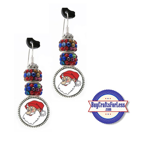 CHRiSTMAS MultiColor Santa EARRiNGS, Glass Cabochon, Sparkle Beads, FREE Gift BoX!!  +FREE SHiPPiNG & Discounts*