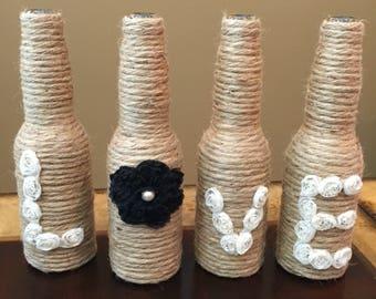 4-Piece, LOVE vase, Rustic wedding decor, rustic home decor, Farm Decor, Shabby-chic, glass vases, personalized decor, wedding decor, vases