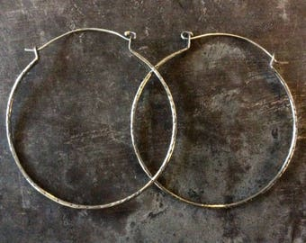 Large textured Raw silver hoops