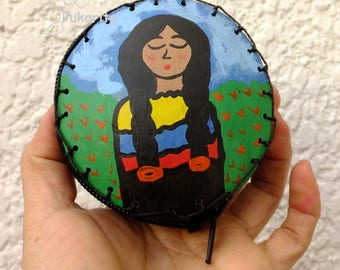 Purse craft made Totumo, with Original artwork, hand painted, made in Colombia