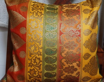 Series Banaras B: Cushion cover 40x40cm (16 x 16 inches) in Brocade and dupion silk. Multiple colors.