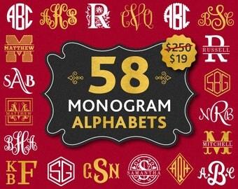 Monogram Font Bundle Svg Files Monograms Svg Font Bundle Svg for Cricut Split Alphabet Svg Cuttable Monogram Letters for Silhouette Dxf Font