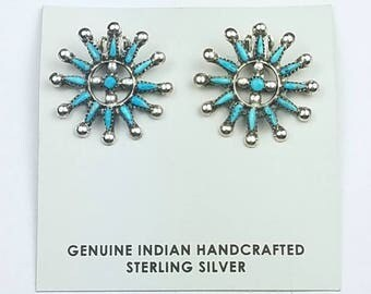 Native American Zuni handmade Sterling Silver Sleeping Beauty Turquoise needle point clip on earrings