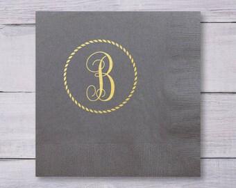 Dinner Napkins, Wedding Napkins, Engagement Party Napkins, Party Napkins, Wedding Logo, Wedding Monogram, Nautical Wedding, Rope, 1312