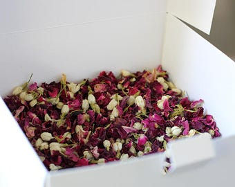 Wedding Confetti Rose Petal Toss ~ 'ISLA' Organic Red Rose Petal and Jasmine Bud ~ Biodegradable ~ Bloom Box ~ BULK BUY ~ 60 cones/portions