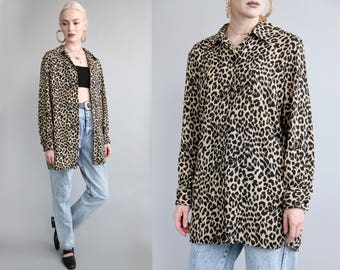 Vtg 90s Leopard Print Tunic/Blouse sz S