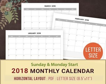 2018 Monthly Calendar Printable, Blank Monthly Planner, Sunday & Monday Start, 2018 Calendar Template, Landscape, Horizontal, Letter Size