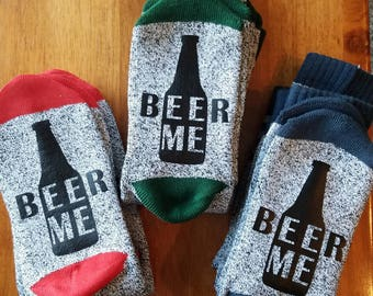 BEER ME SOCKS, Funny Sayings, Bottoms Up Socks, Beer Socks, Beer Lover, Bring Me Beer, different  color options