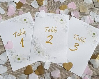 Romantic style wedding table number card.