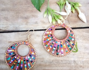 Jewellery, Earrings, Hoop Earrings, Handmade Earrings, Beads Earrings, Multicolor Earrings, Bead Ear Rings, Round Earrings, Dangle Earrings