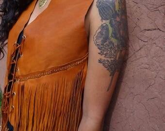Alpaca Leather Fringe Handmade Vest
