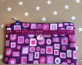 trousse pochette parme violet rose carré cercle rond