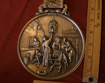 W MF Zinn Pewter Medallion wall Hanging