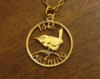 1946 Wren Farthing - Cut Out Coin Necklace