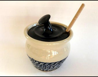 Honey Pot, Honey Jar, Ceramic Honey Jar, Pottery Honey Jar, Sugar Bowl, Honey Keeper, Honey Dipper, Foodie Gift, Honey