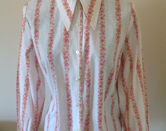 70s dagger collar cotton rose print blouse size14