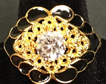 SALE Vintage white topaz black and gold filigree statement ring