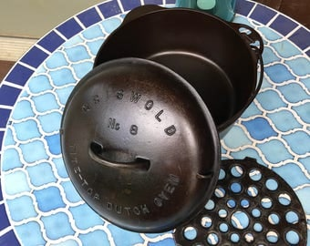 Griswold Cast Iron #8 Dutch Oven, Lid and Trivet
