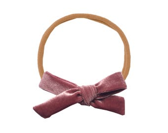 Schoolgirl Velvet Bow or Pigtail Set /// Mauve