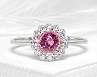 Pink sapphire and diamond ring in 18k white gold - Neo Victorian ring, Sapphire engagement ring, Pink sapphire ring, Custom made ring