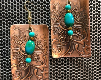 Copper plated earrings with turquoise colored beads