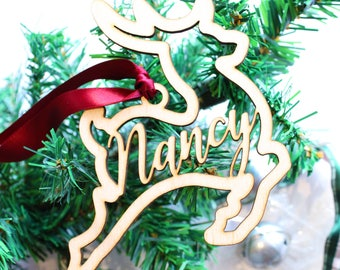 Personalized Christmas Ornament, Reindeer Ornament, Custom Name Ornament, Christmas Ornament with Personalized Name, Wood Name Ornament