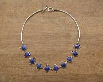 Remade Lapis and Silver Choker