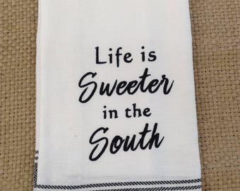 Funny Kitchen Dish Towel or Tea Towel - Perfect Gift for Friends, Hostess or Housewarming