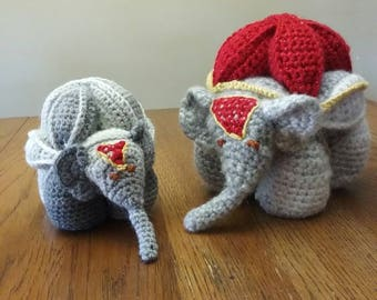 Hand crocheted circus elephant
