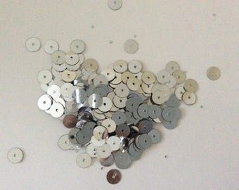 Sequin silver 8 mm sewing or other acrylic in a set of 5 gr