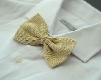 Bow tie/Bowtie crochet beige