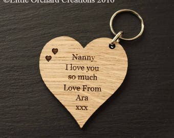 Personalised Wooden Heart Keyring, Nanny wooden Keyring, Wooden Keyring, Gift for Nanny, Gift for mum, Heart Keyring, Personalsied Keyring