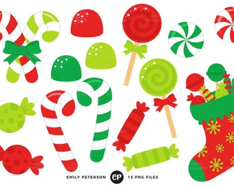 50% OFF SALE! Christmas Candy Clip Art, Candy Cane Clipart, Stocking Clip Art - Commercial Use, Instant Download