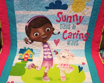 Doc McStuffins quilt, Doc McStuffins blanket, gift for girl, wall hanging, lap quilt, baby quilt, handmade, Lamby, toddler bedding